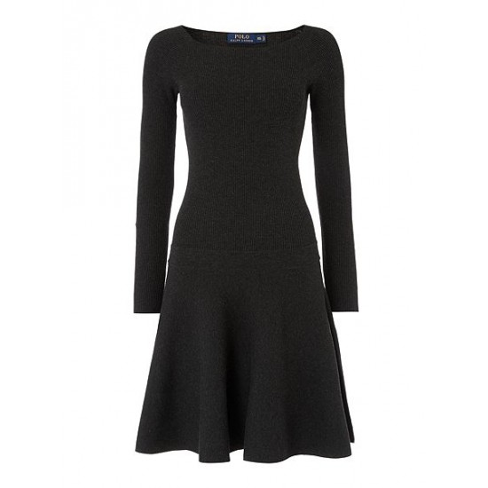 Polo ralph lauren women rosalie long sleeve knitted dress dark grey