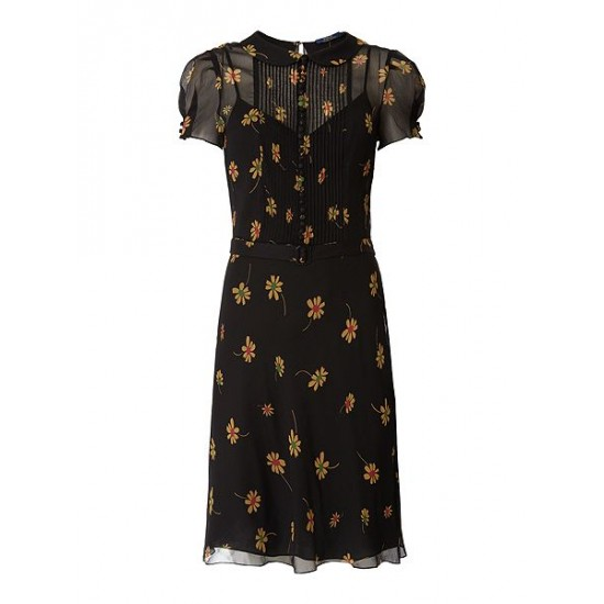 Polo ralph lauren women baylyn silk wild flower dress black
