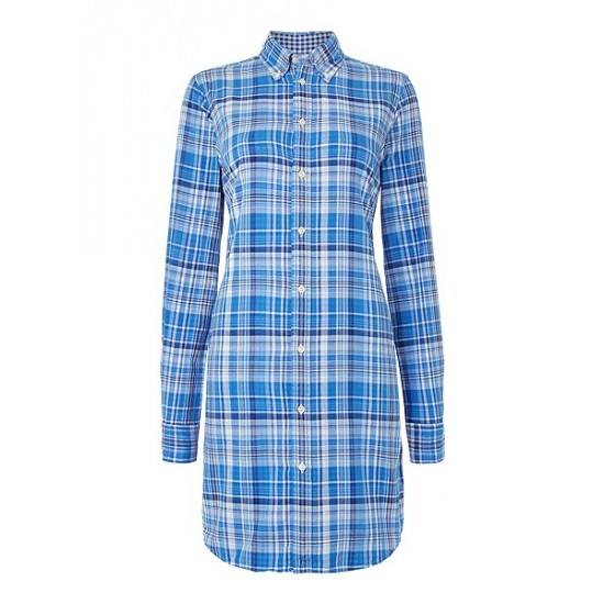 Polo ralph lauren women long sleeved checked shirt dress blue