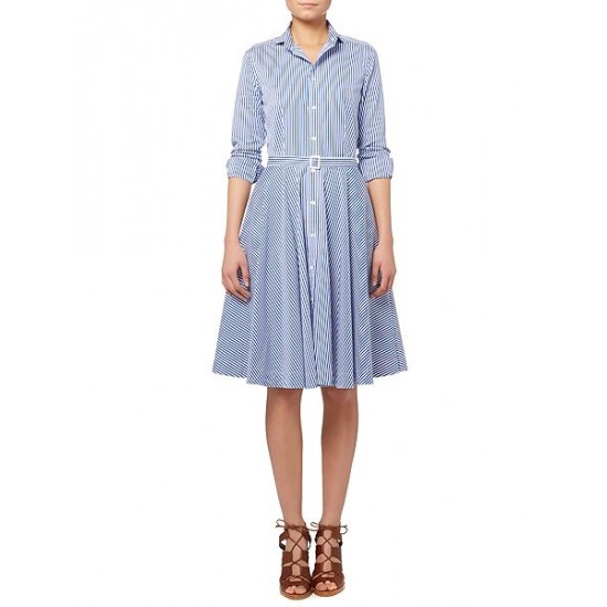 Polo ralph lauren women dori long sleeve stripe shirt dress blue