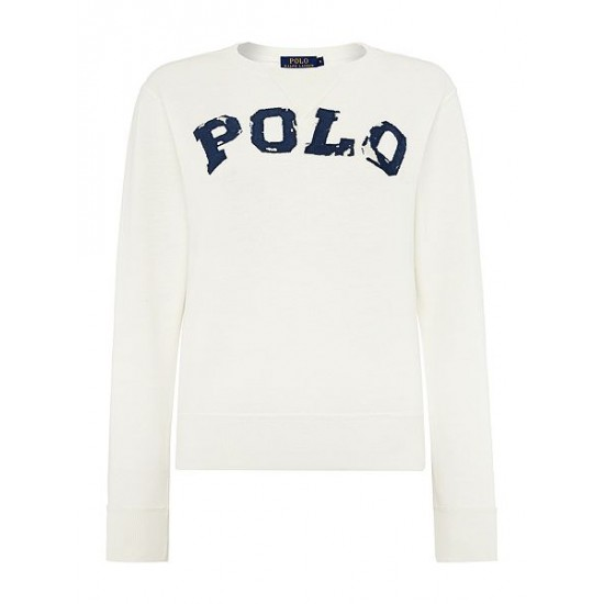 Polo ralph lauren women tyra long sleeve logo sweater cream