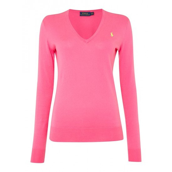 Polo ralph lauren women long sleeve v neck jumper pink