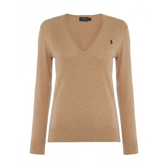 Polo ralph lauren women eloise v neck jumper camel