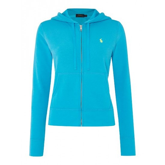 Polo ralph lauren women martine zip up hooded top blue