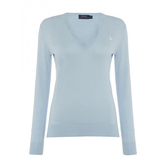Polo ralph lauren women eloise v neck jumper light blue