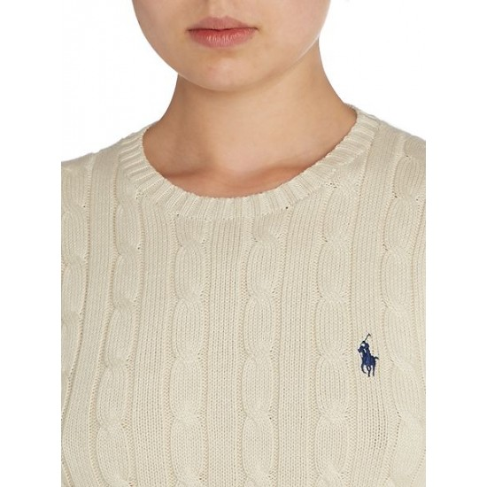 Polo ralph lauren women long sleeved crew neck knitted jumper cream