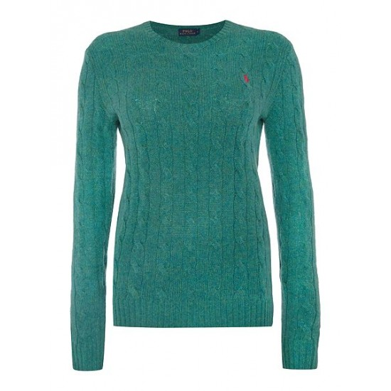 Polo ralph lauren women julianna cable wool crew neck jumper green
