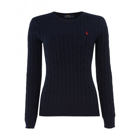 Polo ralph lauren women long sleeved crew neck knitted jumper navy