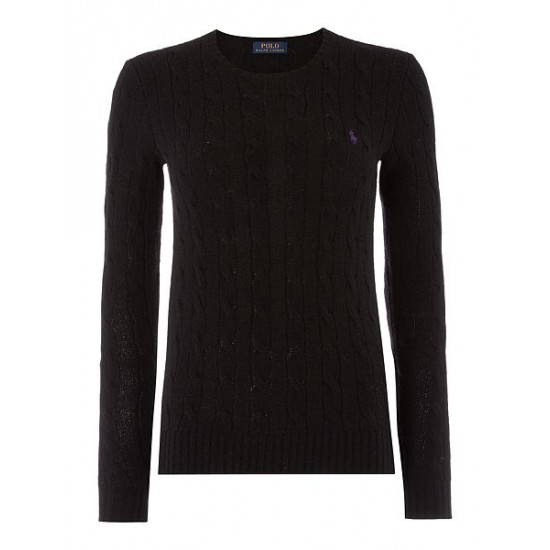 Polo ralph lauren women long sleeved crew neck knitted jumper black