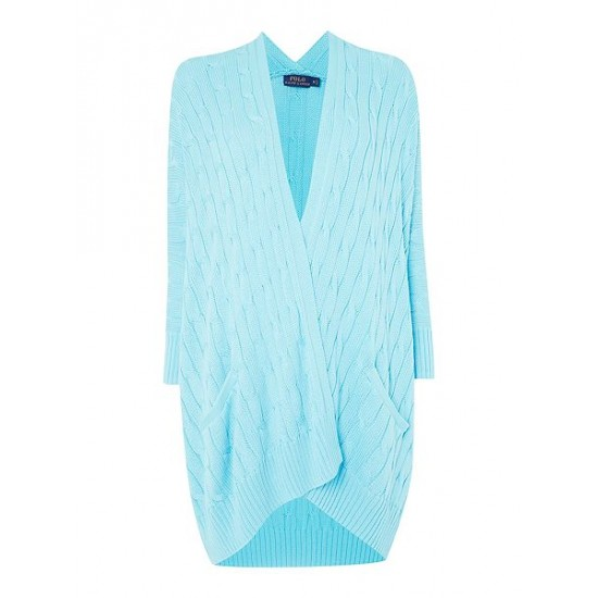 Polo ralph lauren women long sleeve cable knit cardigan turquoise