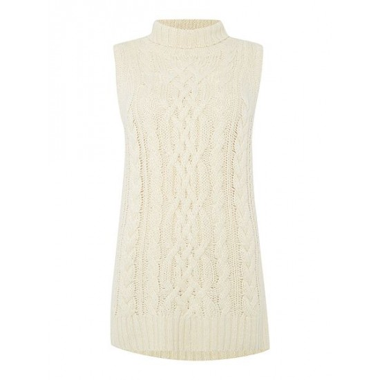 Polo ralph lauren women sleeveless aran knit cream