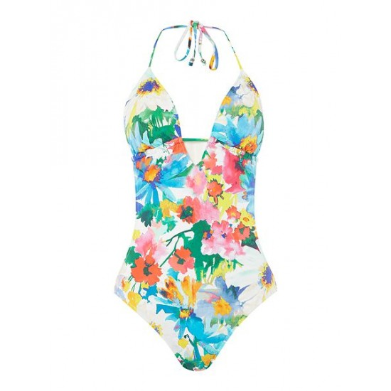 Polo ralph lauren women daisy floral keyhole one piece swimsuit multi coloured