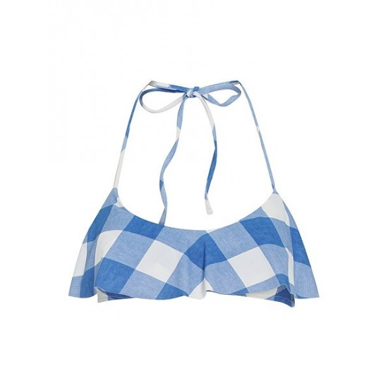 Polo ralph lauren women large gingham flutte blue