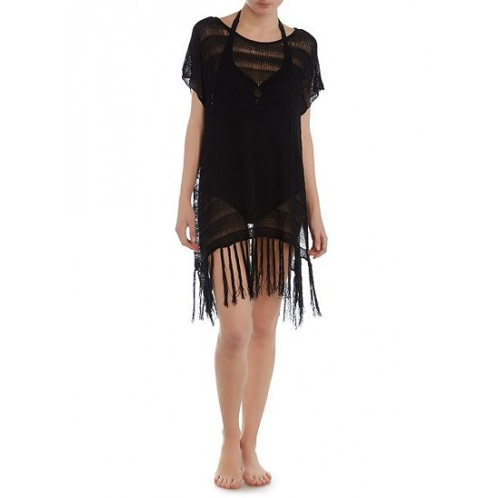 Polo ralph lauren women tulum fringe crochet tunic black