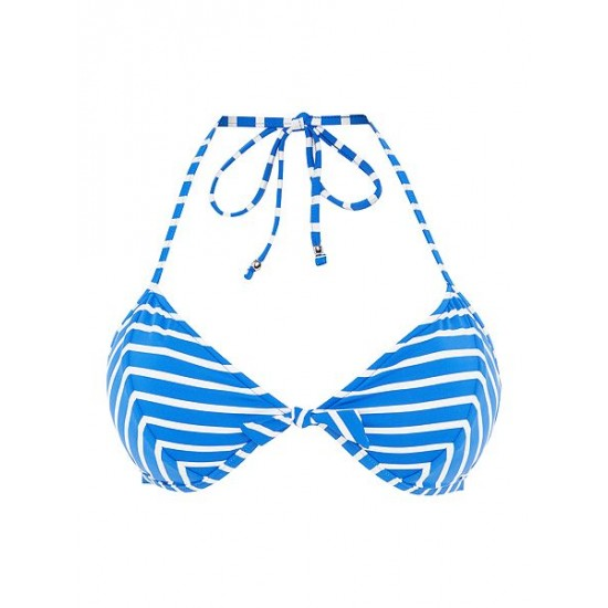 Polo ralph lauren women bengal stripes triangle bikini top blue
