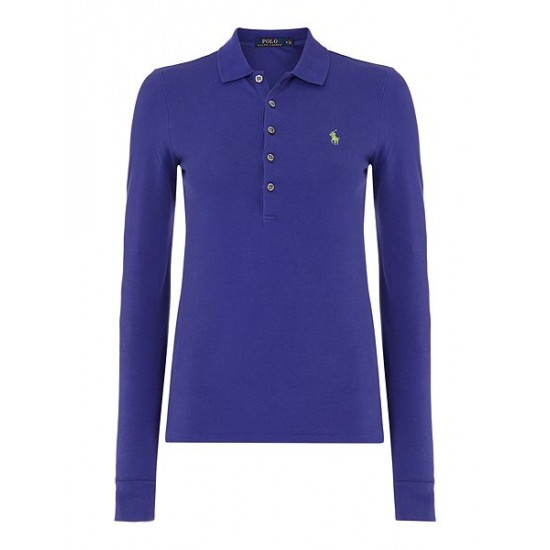 Polo ralph lauren women julie long sleeve mesh polo purple