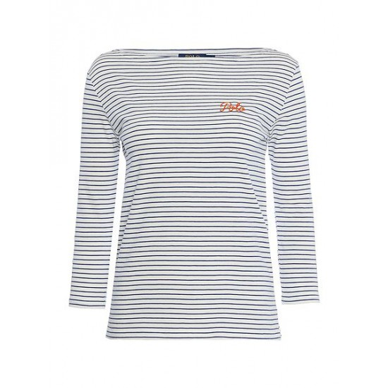 Polo ralph lauren women boatneck top in classic stripe blue multi
