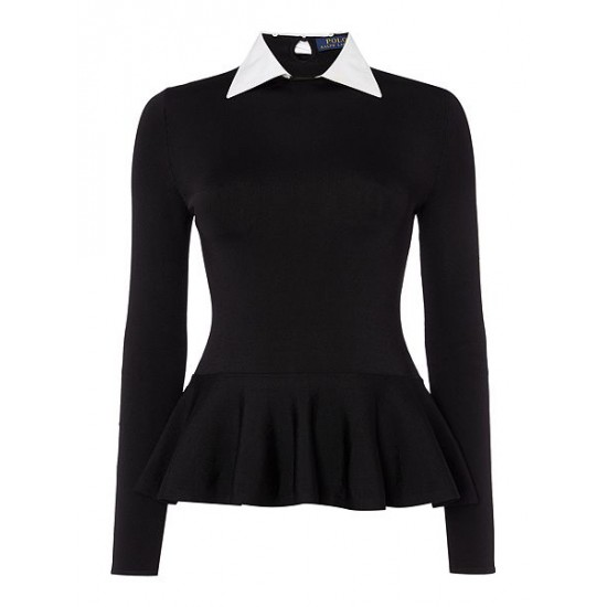 Polo ralph lauren women long sleeve removable collar top black