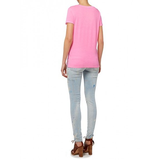 Polo ralph lauren women christie plain v neck t shirt pink