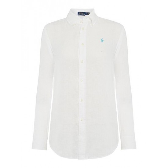 Polo ralph lauren women evie linen shirt white