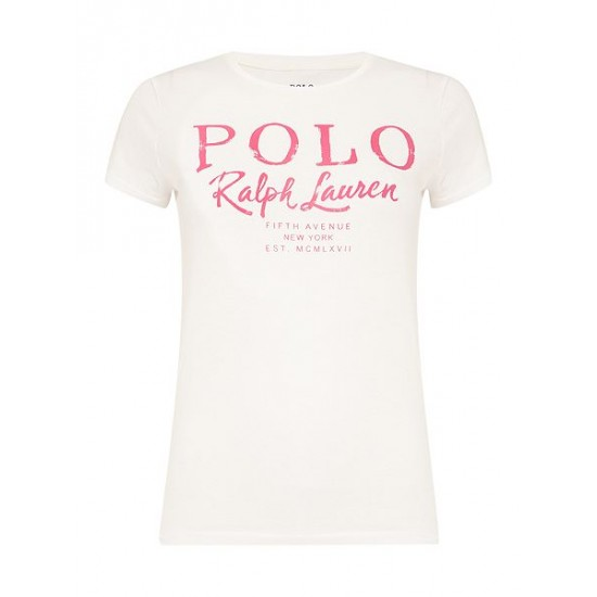 Polo ralph lauren women holly logo t shirt white dicount uk