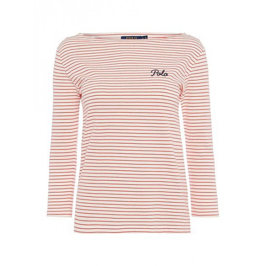 Polo ralph lauren women boatneck top in classic stripe white red