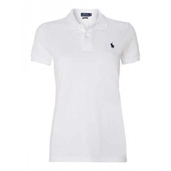 Polo ralph lauren women skinny fit short sleeved polo white