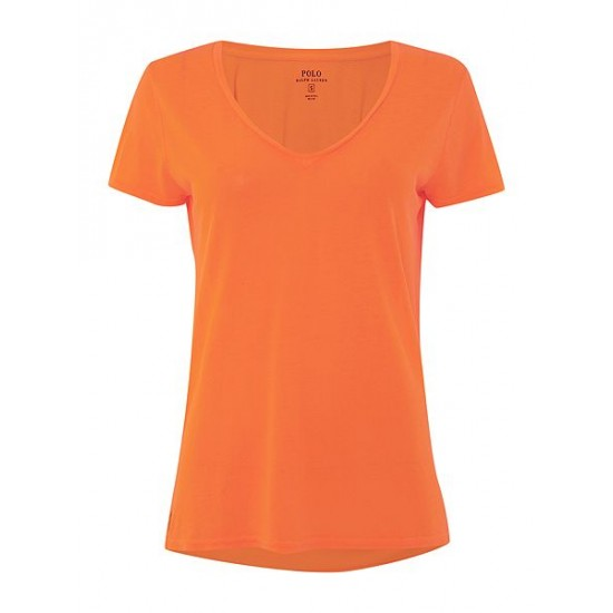 Polo ralph lauren women christie plain v neck t shirt orange