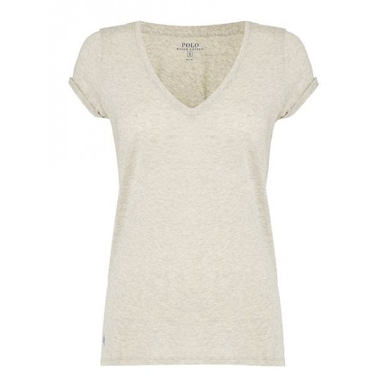 Polo ralph lauren women christie plain v neck t shirt light grey