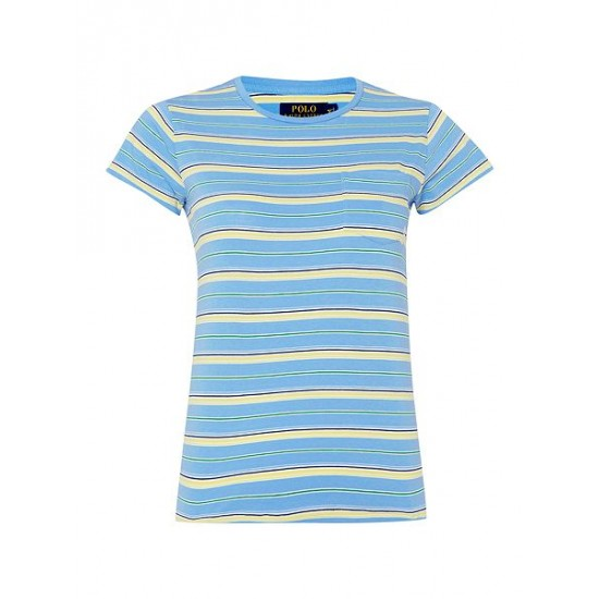 Polo ralph lauren women short sleeved striped t shirt blue