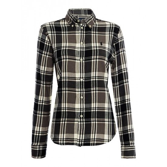 Polo ralph lauren women check shirt with pony black grey