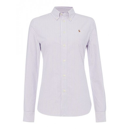 ralph lauren harper long sleeve stripe shirt purple sale for women