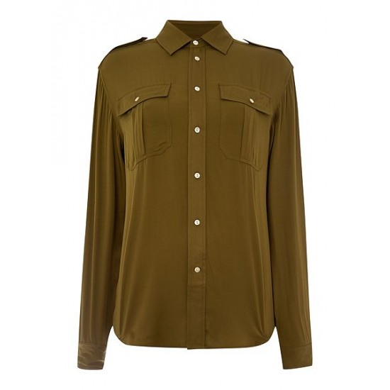 Polo ralph lauren women pippa long sleeved shirt olive