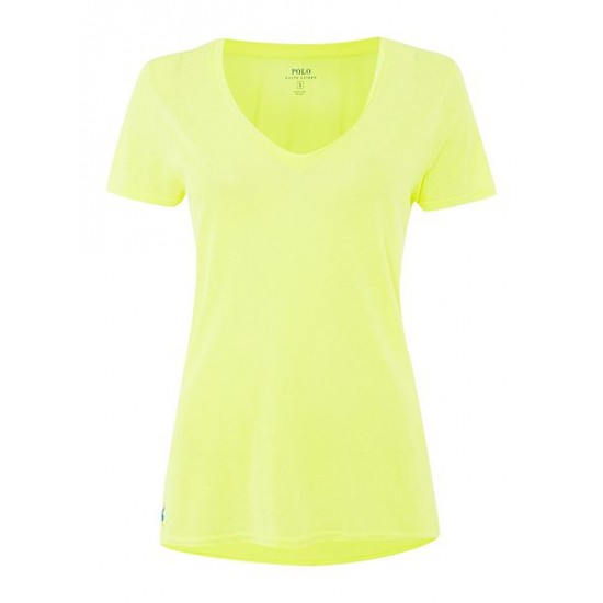 Polo ralph lauren women christie plain v neck t shirt yellow