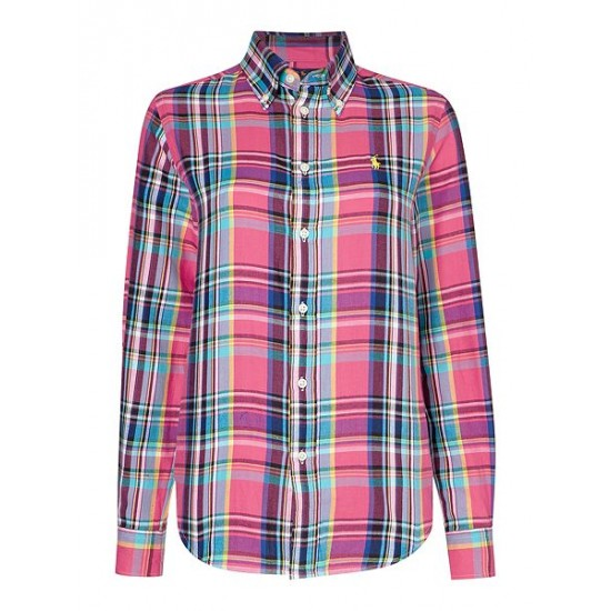 Polo ralph lauren women evie relaxed long sleeve check shirt multi coloured
